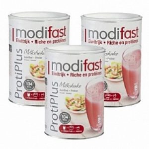 Modifast Protiplus Milkshake Aardbei Voordeelverpakking 3x540gr