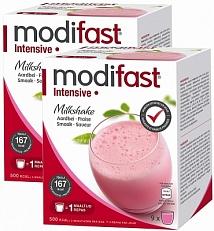 Modifast Intensive Milkshake Aardbei Voordeelverpakking 2x423gr